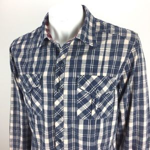 Vertical Comstock Marble Plaid Shirt Blue Size Med